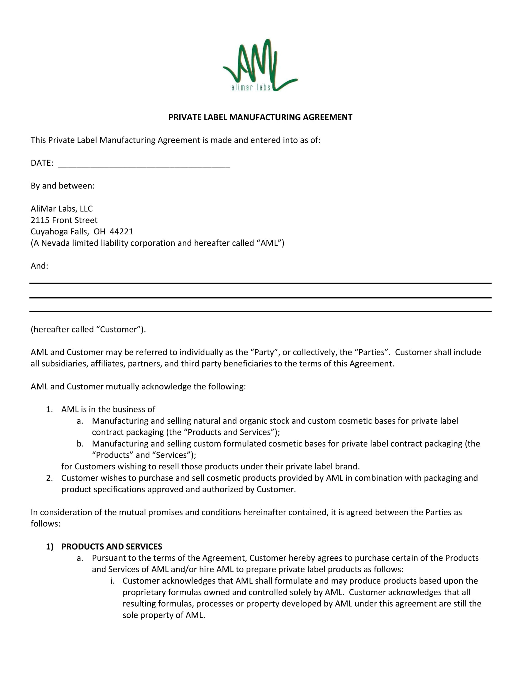 contract manufacturing agreement template examples