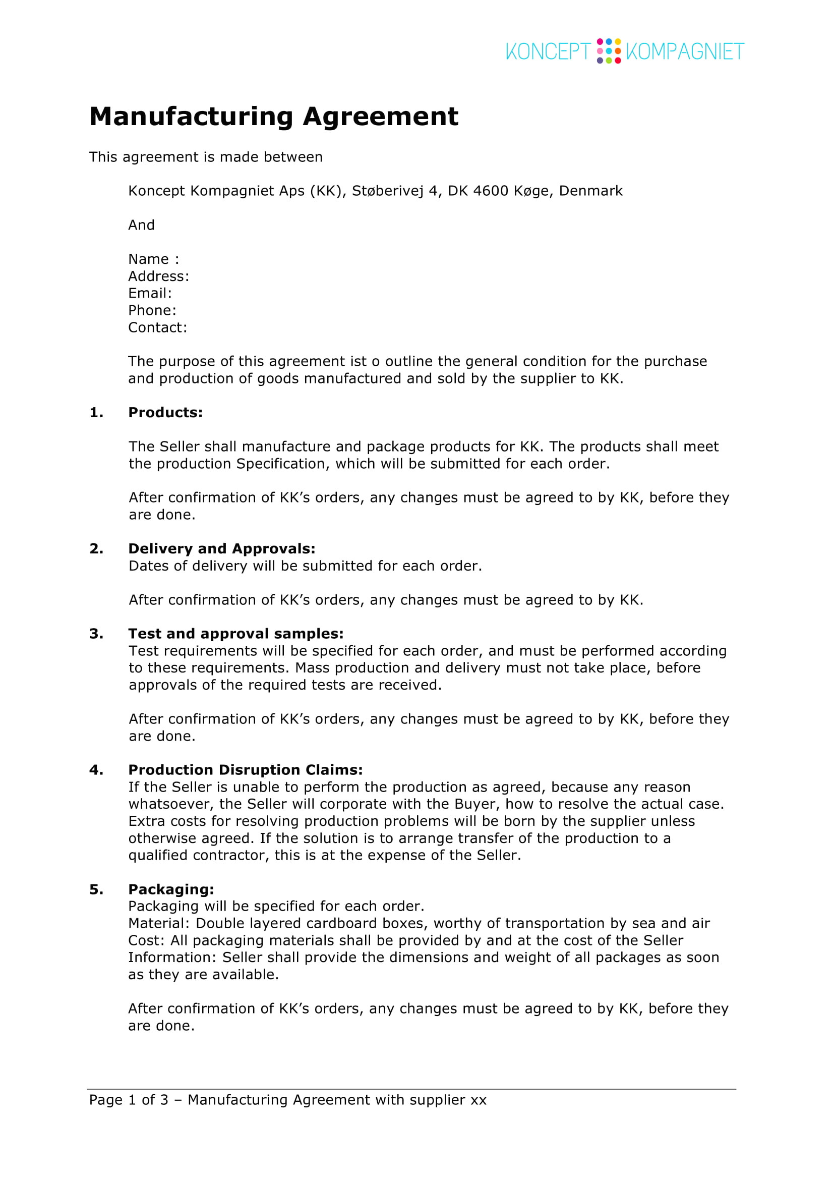 Technical Quality Agreement for Contract Manufacturing Template 11 Contract Manufacturing Agreement Template Examples