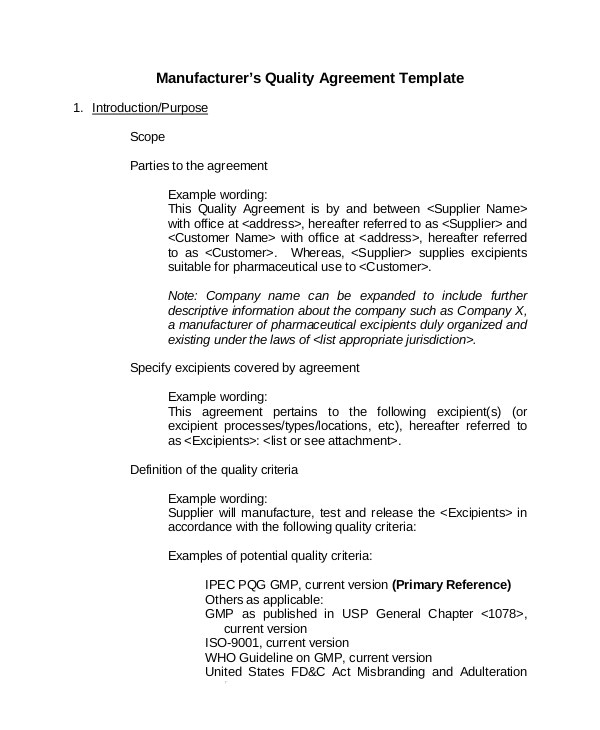 quality agreement template