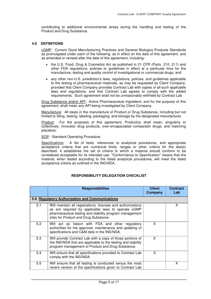contract manufacturing quality agreement template