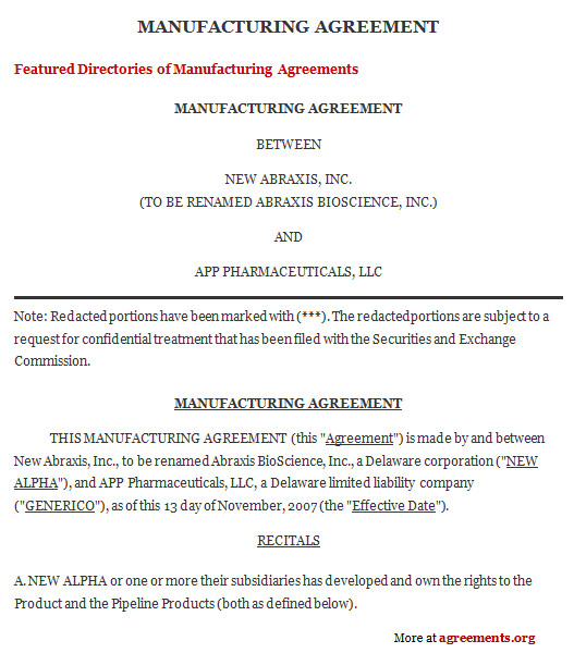 manufacturing contract agreement