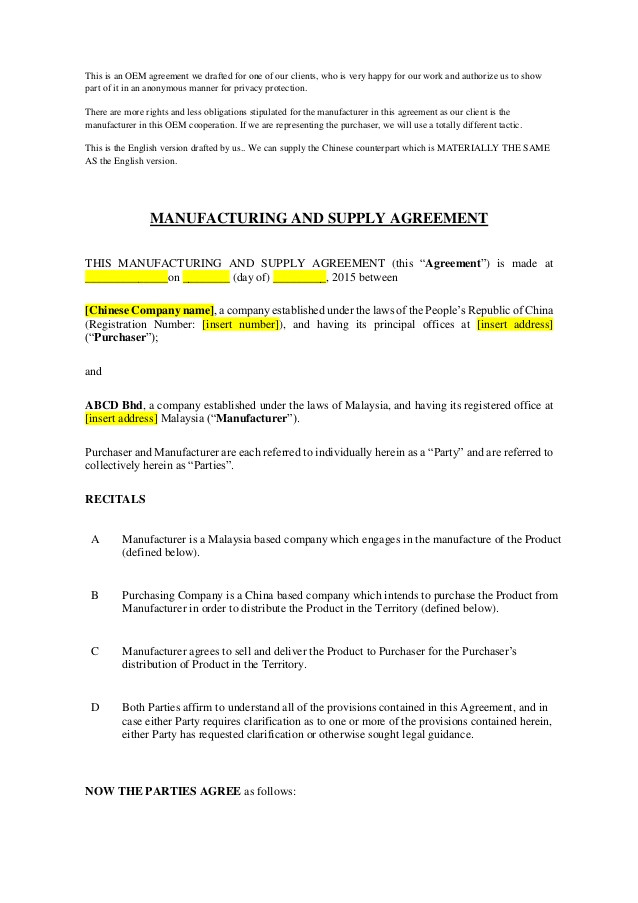 sample work manufacturing and supply agreement part 1 57044010