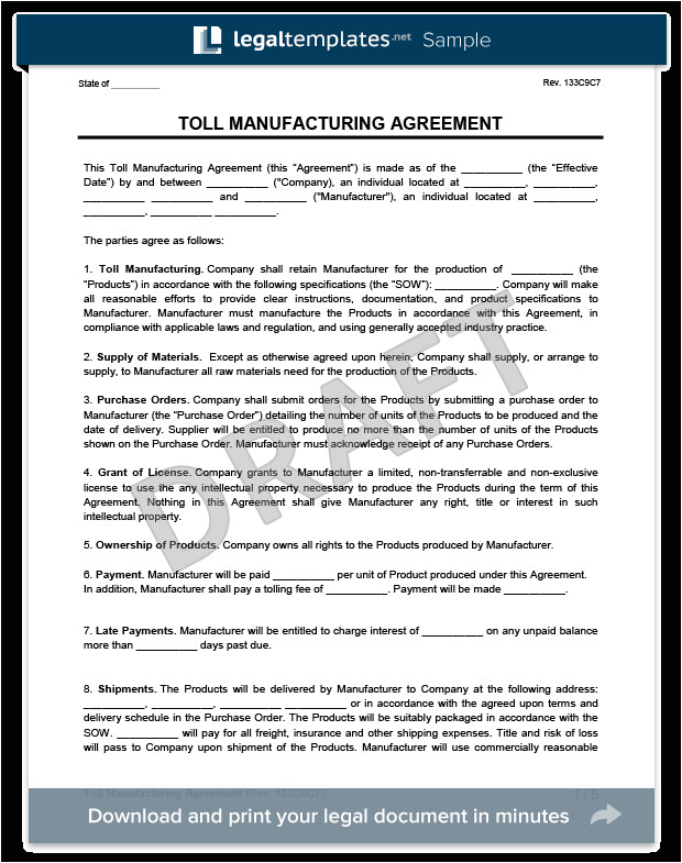 toll manufacturing agreement
