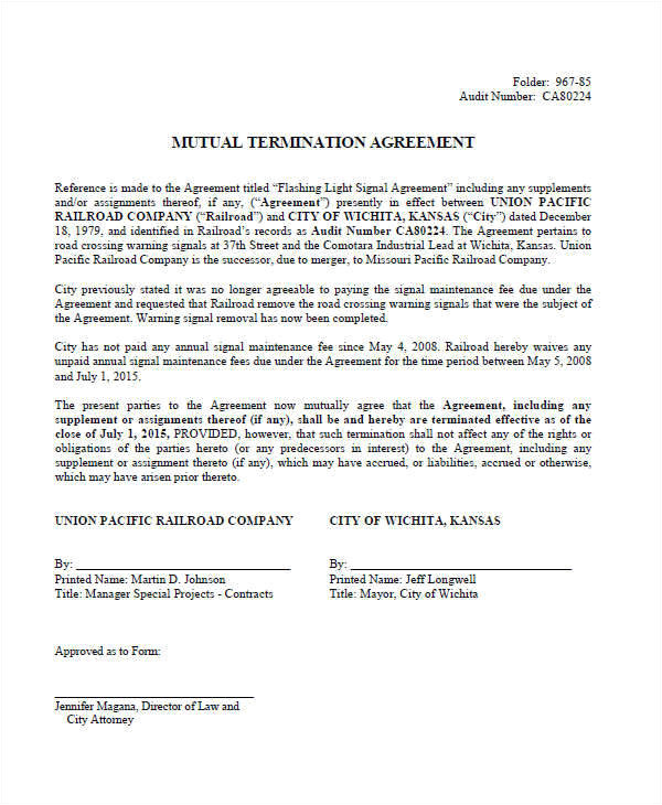 Template for Cancellation Of Contract 9 Termination Contract Templates Examples In Word Pdf