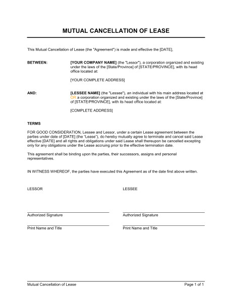 cancellation of lease agreement