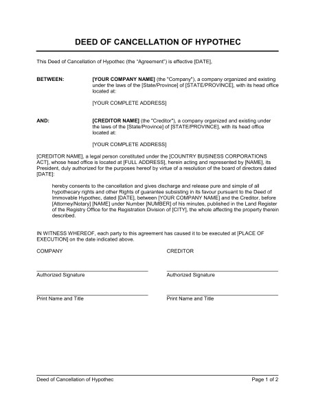 Template for Cancellation Of Contract Deed Of Cancellation Of Hypothec Template Word Pdf