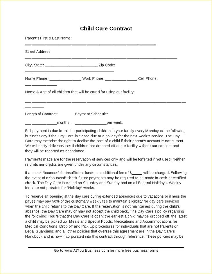 Template for Child Care Contract Best 25 Daycare Contract Ideas On Pinterest Daycare