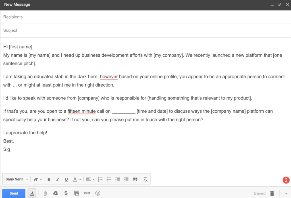 cold email template and examples