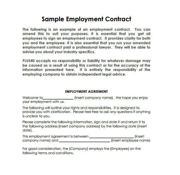 Template for Contract Of Employment 13 Job Contract Templates Pages Word Docs