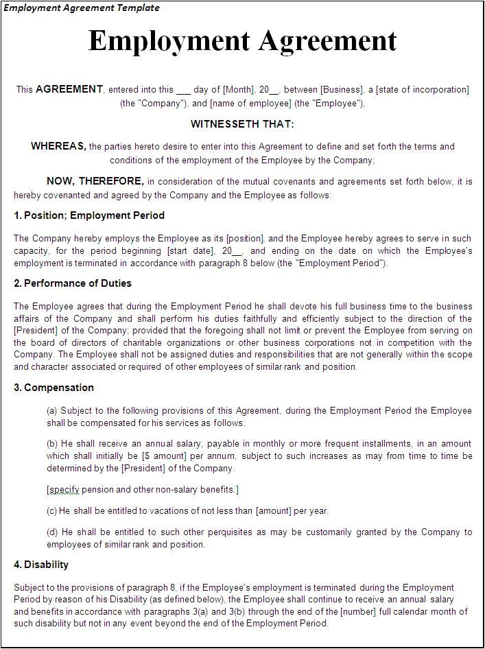 Template for Contract Of Employment Printable Sample Employment Contract Sample form Laywers