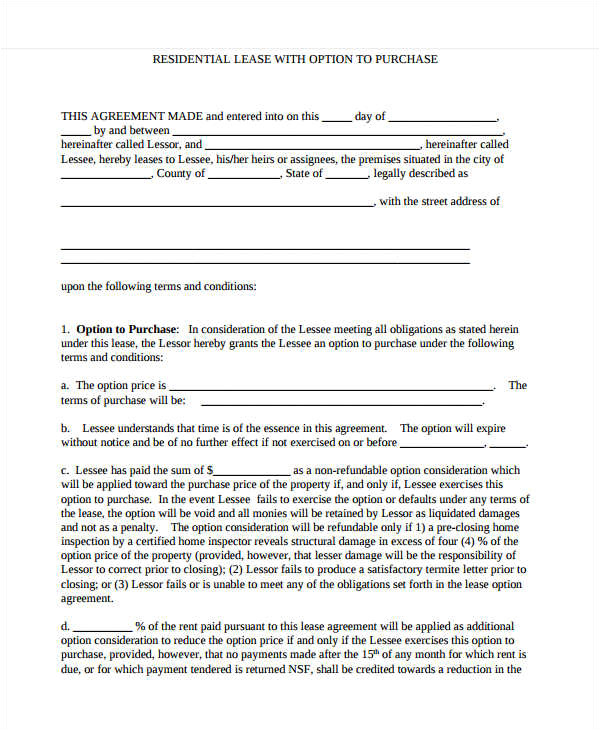 rent to own contract template