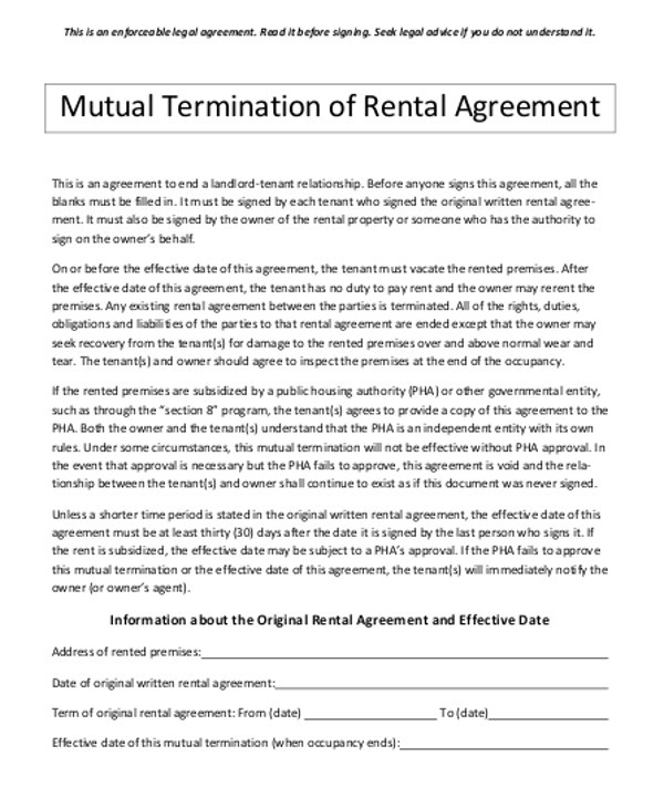 contract termination agreement