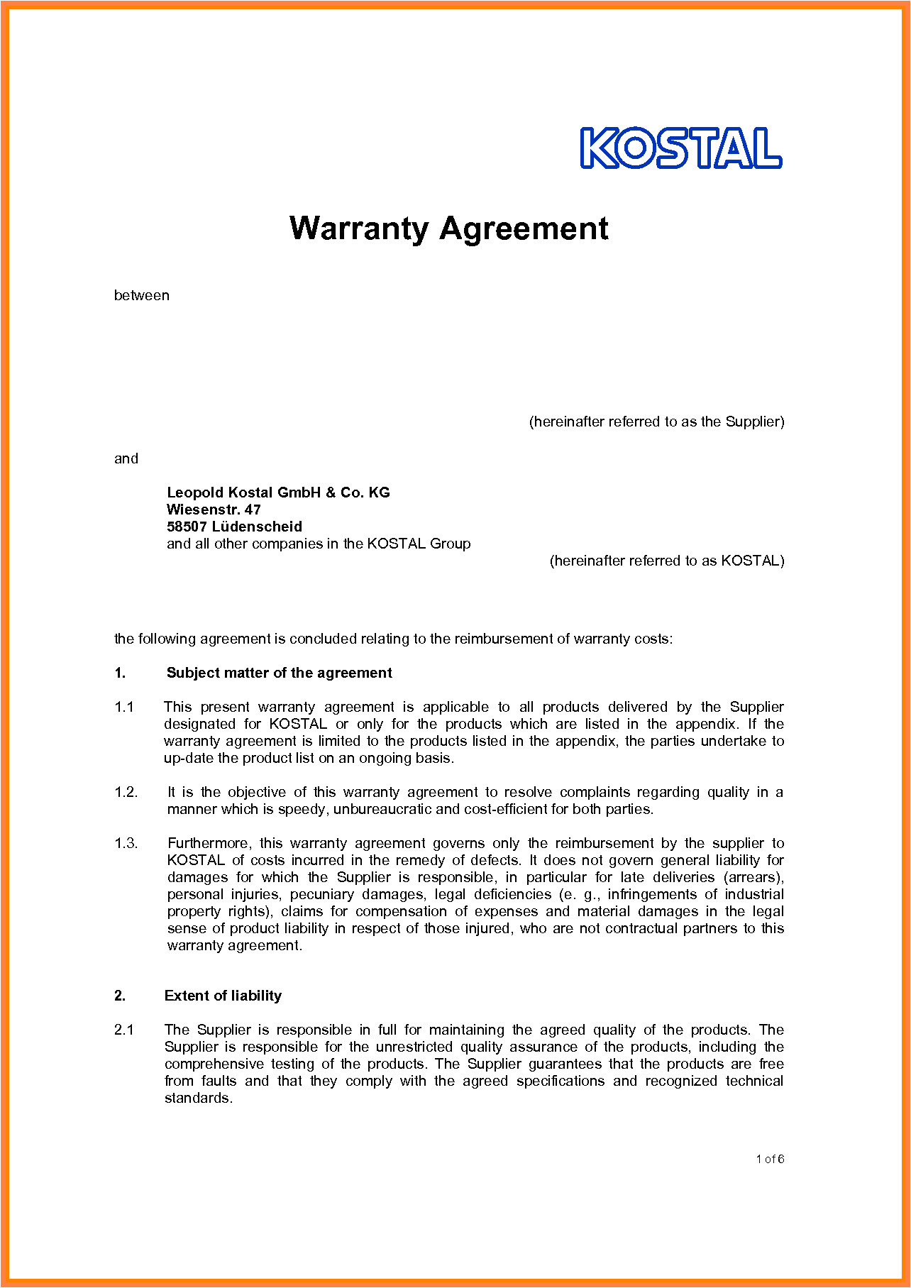 10 letter of agreement template between two parties