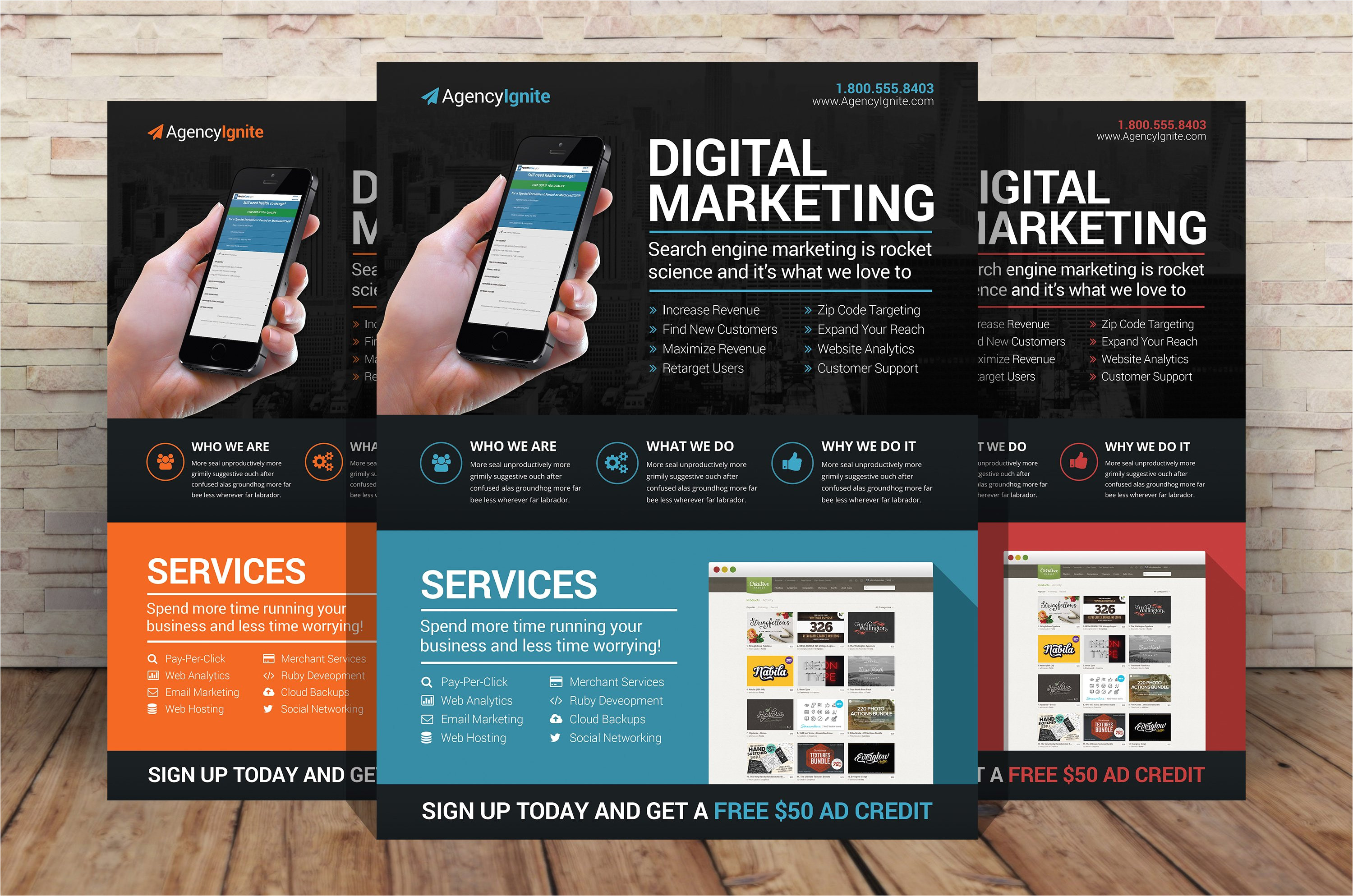 65388 digital marketing flyer psd