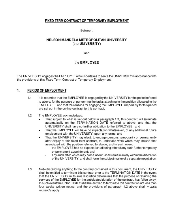Temporary Employment Contract Template south Africa 18 Employment Contract Templates Pages Google Docs