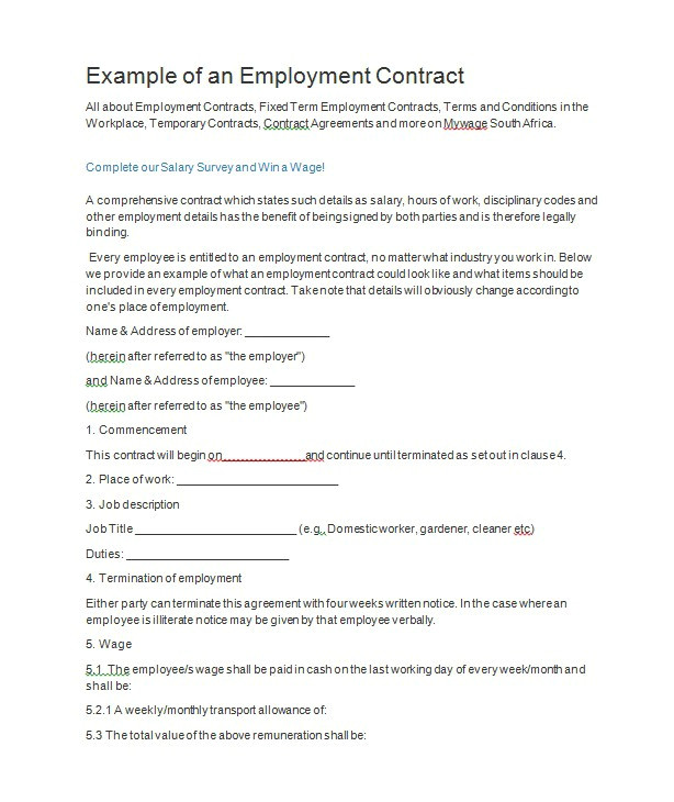 Temporary Employment Contract Template south Africa 40 Great Contract Templates Employment Construction