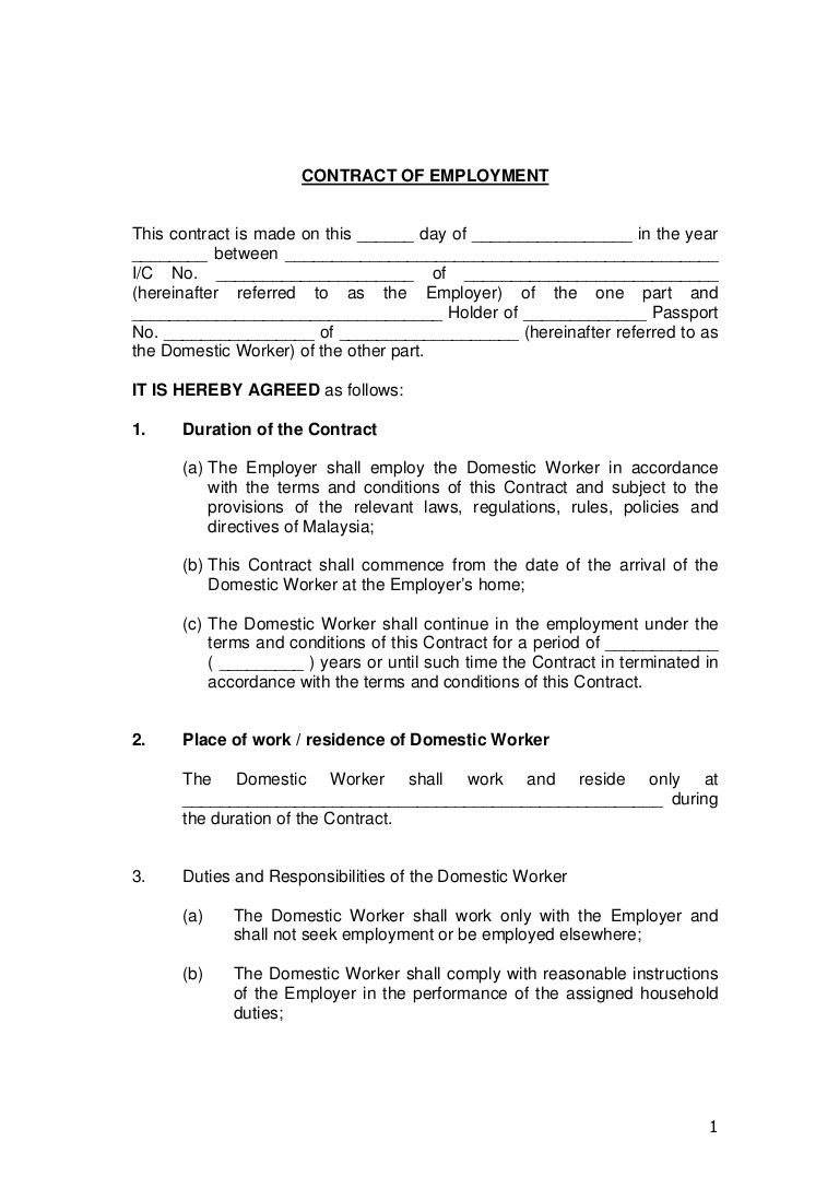 Temporary Employment Contract Template south Africa Contract Of Employment