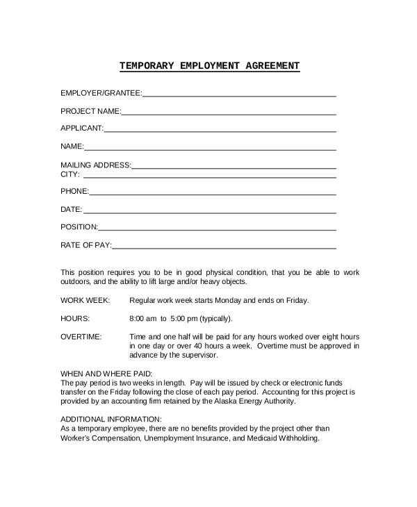 Temporary Work Contract Template 17 Sample Employment Contracts Pdf Word