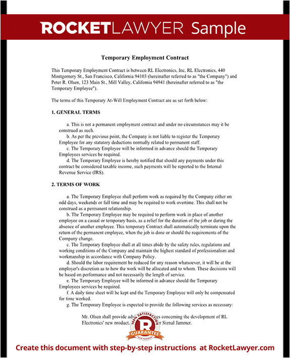 temporary employment contract rl