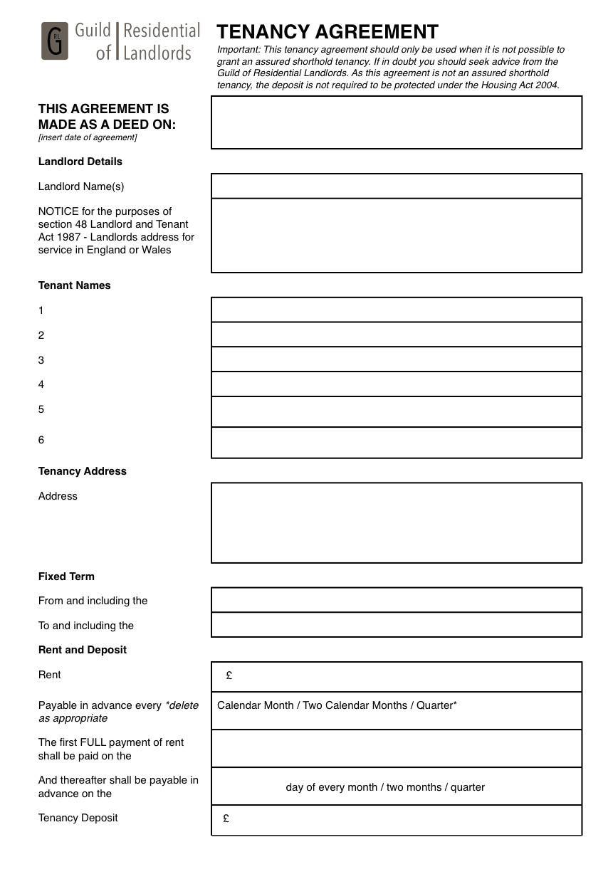 contractual common law tenancy agreement