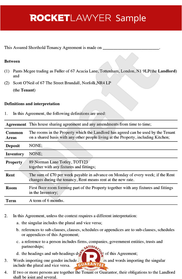 Tenant Contract Template Uk Room Rental Agreement Tenancy Agreement for Rooms In
