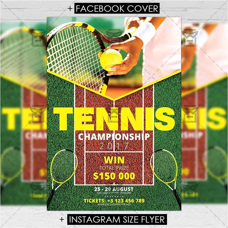 tennis championship sport a5 flyer template