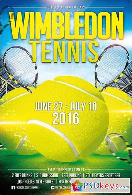 39113 tennis wimbledon psd flyer template facebook cover