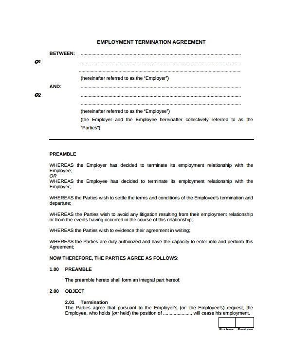 employment termination agreement template