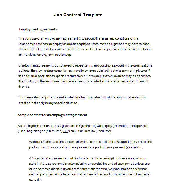 Terms Of Employment Contract Template 18 Job Contract Templates Word Pages Docs Free