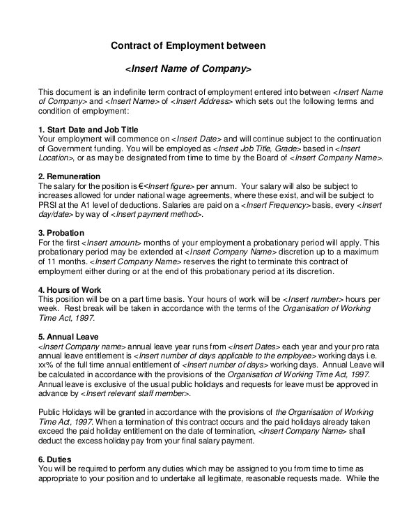 Terms Of Employment Contract Template Employment Contract Template 21 Sample Word Apple