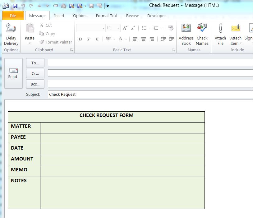 using outlook templates to send emails of a frequent type