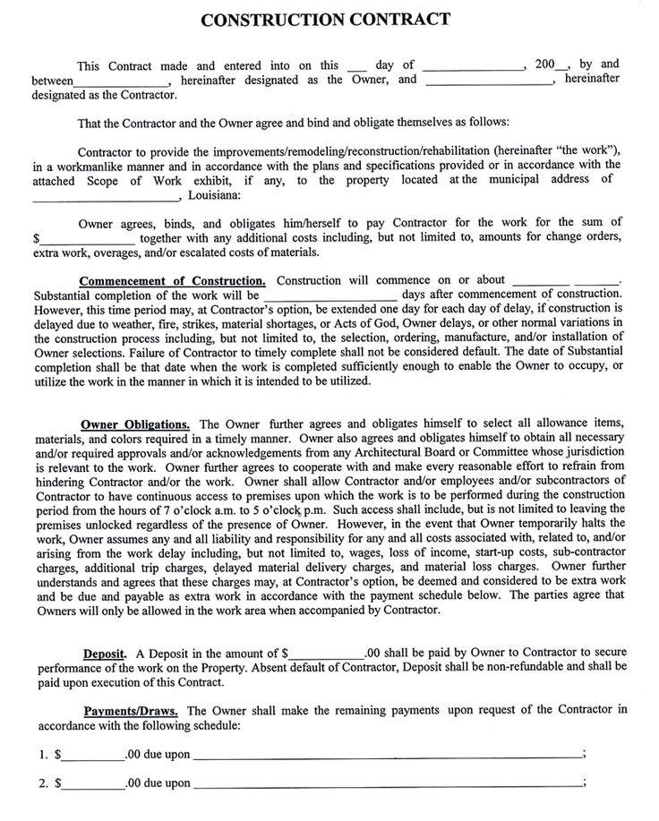 Texas Construction Contract Template Construction Company Contract Template Sample