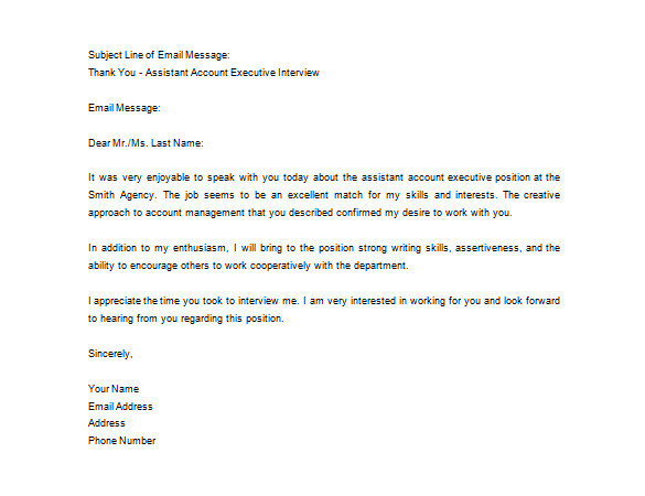 sample after job interview thank you letter