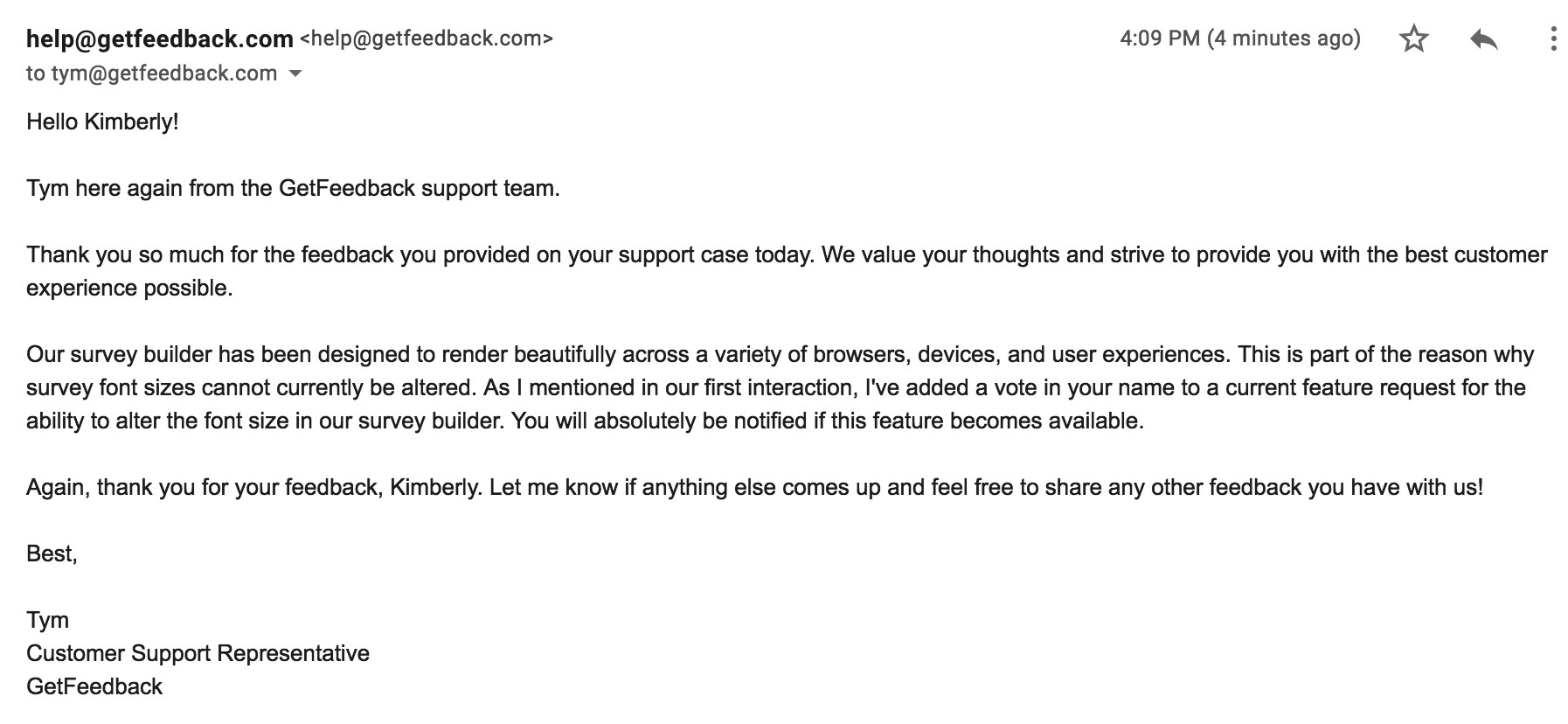 customer thank you email letter