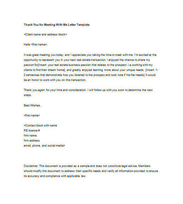 real estate thank you letters template