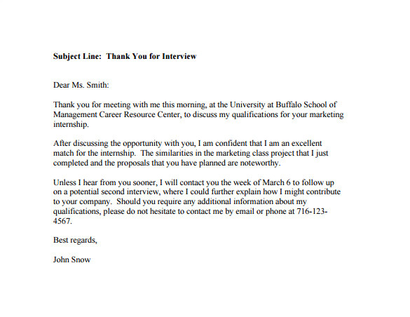 sample post interview thank you email