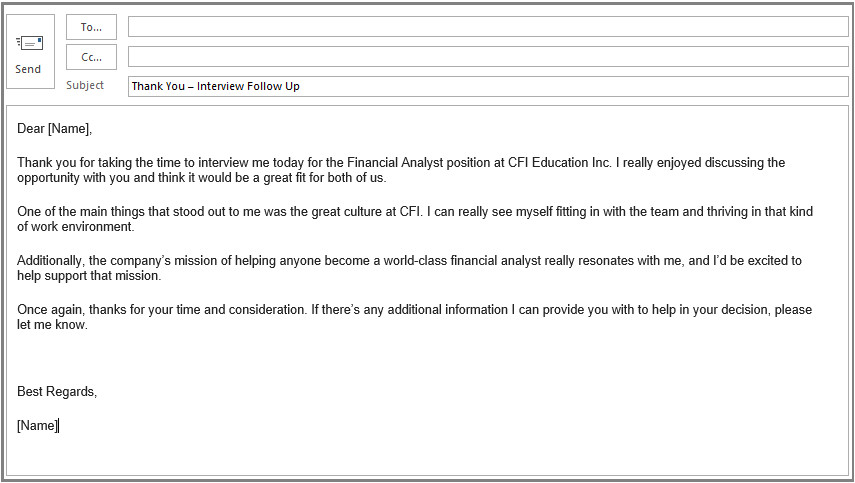 thank you after interview email
