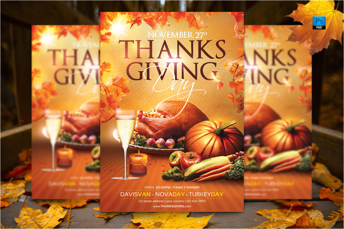 86928 thanksgiving day flyer template