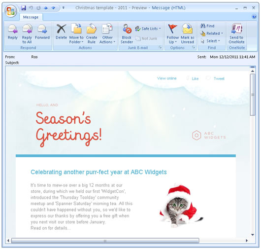 christmas email template 2011