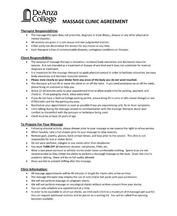 massage therapy contract template examples
