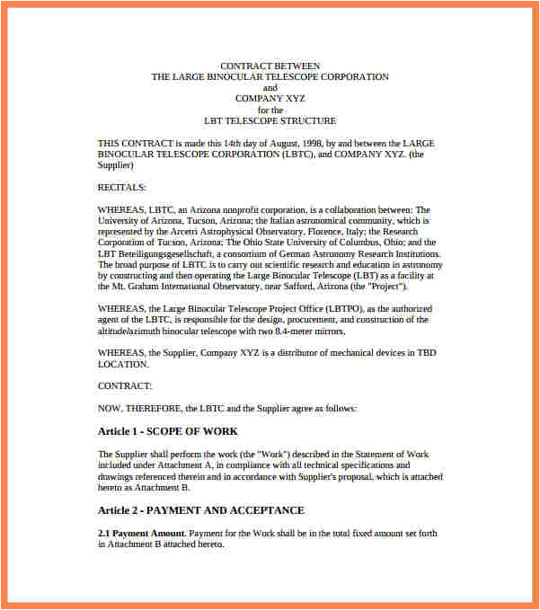 3 business agreement template between two parties