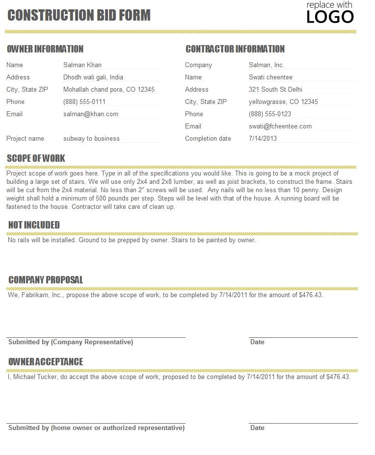 Time & Materials Contract Template Free Construction Time and Material forms Download