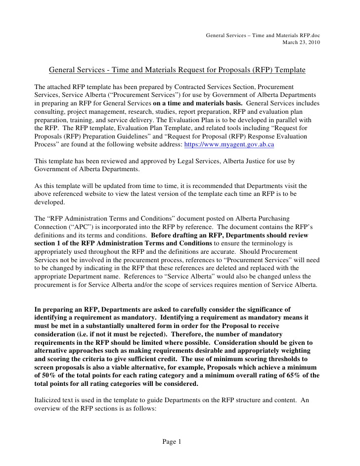 general services time and materials rfp template