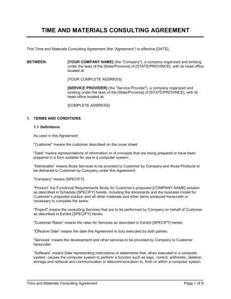 Time and Material Contract Template Time and Materials Consulting Agreement Template