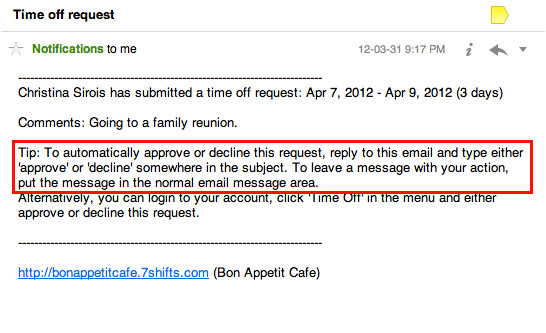 Time Off Email Template Approve Requests From Your Email 7shifts