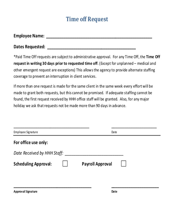 Time Off Request Email Template Sample Time Off Request form 12 Free Documents In Doc Pdf