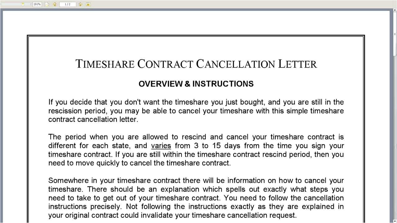 Timeshare Contract Cancellation Letter Template Timeshare Contract Cancellation Letter Youtube