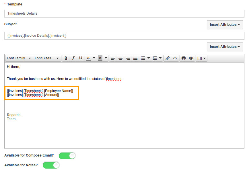 how do i insert attributes in invoice email templates