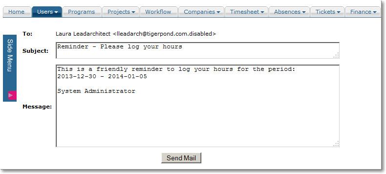 package intranet timesheet reminders