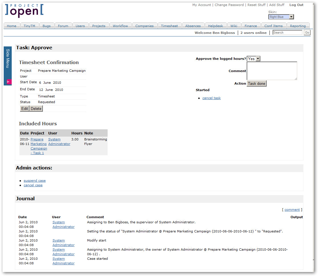 package intranet timesheet2 workflow